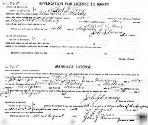Ollie Whitney and Albert Long Marriage Certificate